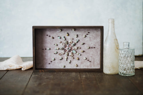 Dark Wood Framed Gemstone - Petal