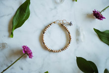 Load image into Gallery viewer, Pink Pearl, Pyrite + 14kt Gold Filled Bracelet