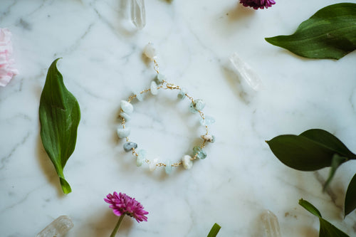 Aquamarine Nugget + 14kt Gold Filled Bracelet