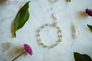 Pale Green Jade + 14kt Gold Filled Bracelet