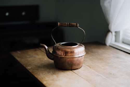 Wood Handled Copper Tea Kettle