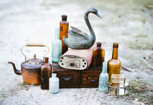 Load image into Gallery viewer, Patina Blue Metal Swan Planter