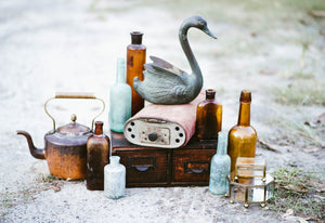 Patina Blue Metal Swan Planter