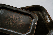 Load image into Gallery viewer, Antique Toleware Metal Hand Painted Tray Set