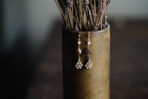 Floral Rhinestone Drop Earrings