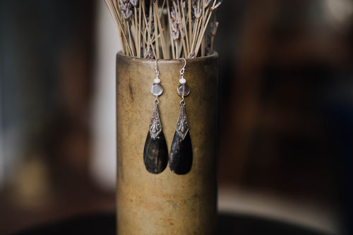 Black Shell + Sterling Drop Earrings