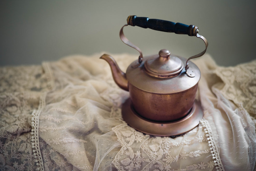 Small Copper Tea Pot + Stand