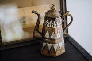 Vintage Etched Copper, Brass + Silver Kettle