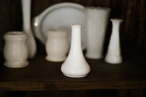 Antique Small Milk Glass Bulb Vase