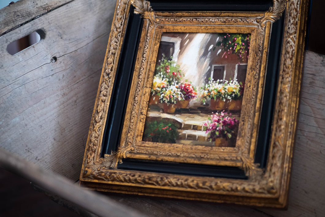 Black + Gold Framed Garden Oil Painting