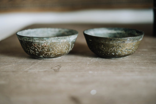 Set of 2 Antique Chinese Brass Bowls