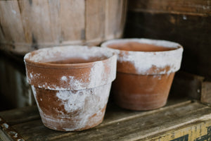 Set of 2 Weathered Antique Terra Cotta Pots