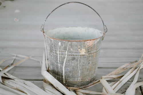 Large Antique Galvanized Zinc Metal Bucket