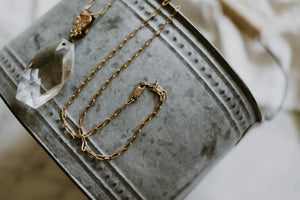 Watch Fob + Faceted Crystal Necklace