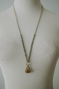 Antique Watch Fob Brass Chain Necklace