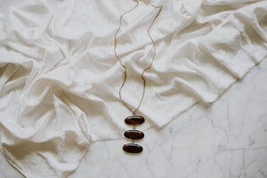 Triple Sterling + Agate Drop Necklace