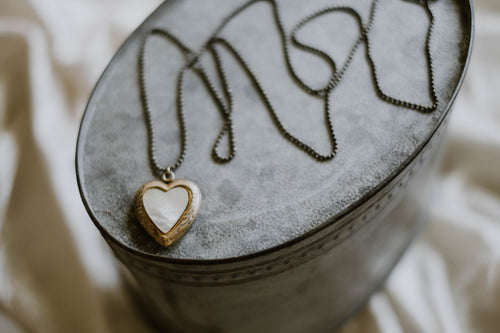 Mother of Pearl Heart Locket Necklace