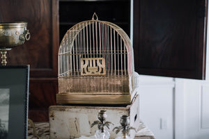1920s Hendryx Bird Cage with Milk Glass Feeder