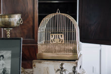 Load image into Gallery viewer, 1920s Hendryx Bird Cage with Milk Glass Feeder