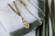 Load image into Gallery viewer, Mixed 1800s Watch Chain + Heart Lock Necklace