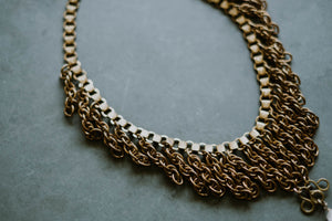 Antique Book Chain Statement Necklace