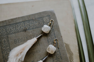 Champagne Ostrich Feather + Quartz Earrings