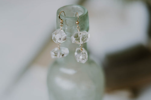 Faceted Crystal Quartz Nugget Earrings