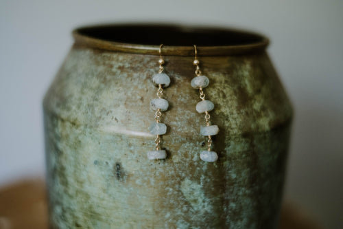 Faceted Aquamarine Ladder Earrings
