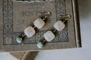 Rutilated Quartz + African Turquoise Earrings