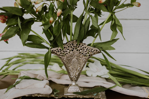 Vintage Silver Plated Solid Brass Flat Lace Vase