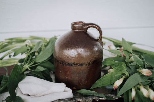 Primitive Brown Glazed Stoneware Jug