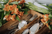 Load image into Gallery viewer, Antique Silverware + Wood Tray