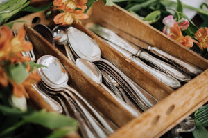 Antique Silverware + Wood Tray