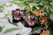 Load image into Gallery viewer, Set of Vintage Hand-Blown Floral Glass Votives