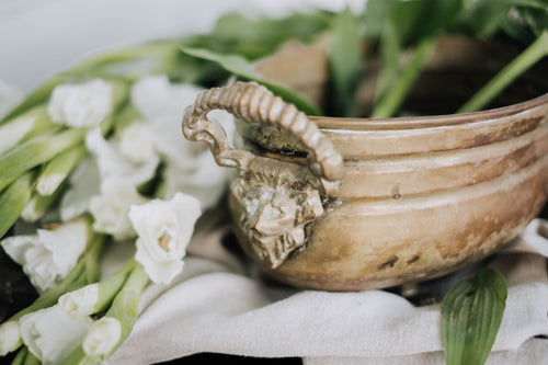 Solid Brass Lion Head Planter