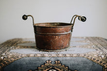 Load image into Gallery viewer, Porcelain Handled Weather Copper Bucket