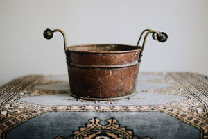 Porcelain Handled Weather Copper Bucket