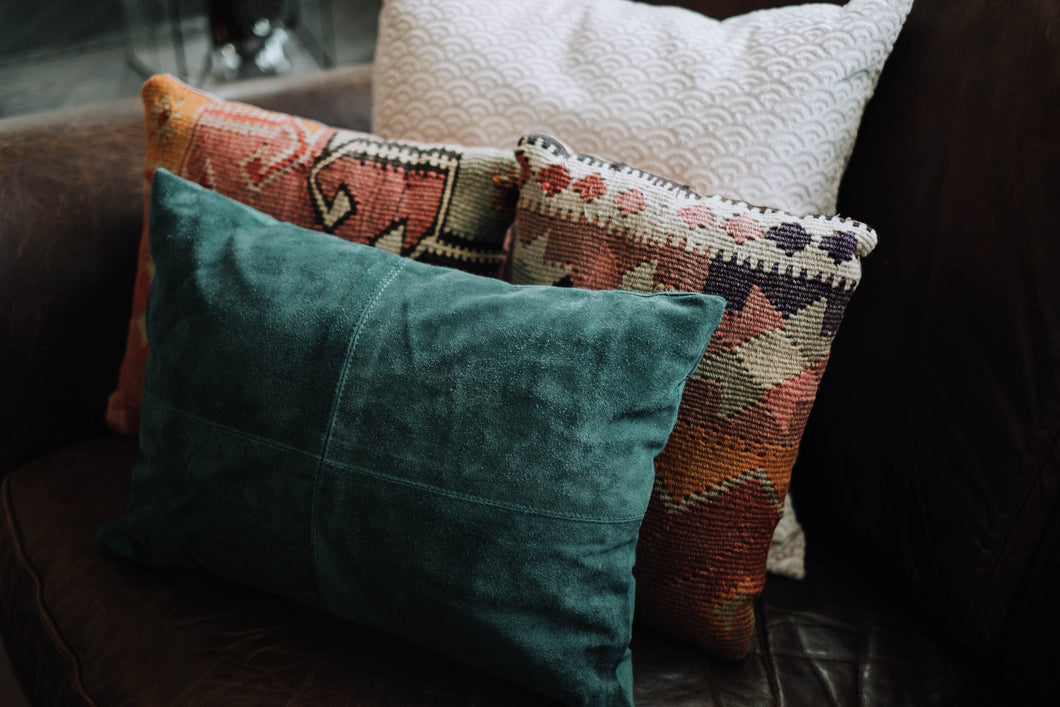 Genuine Suede Teal Accent Pillow