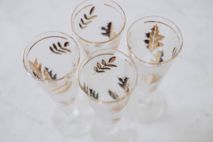 Set of 4 Gold Gilt Leaf Drinking Glasses