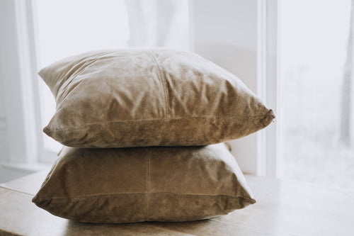 Tan Suede + Down Filled Throw Pillows