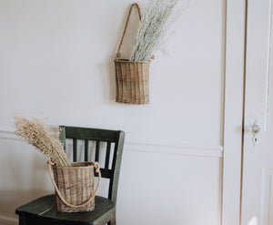 Set of 2 Woven Hanging Baskets