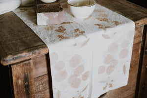 Hand Dyed Real Leaf Silk Table Runner