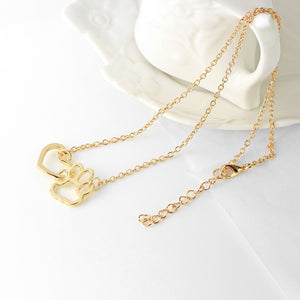 Gold and Silver Pendant Paw Necklace