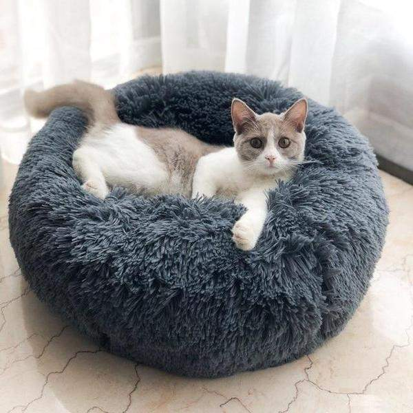 Grey Faux Fur Pet Bed with cat resting
