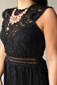 Impressed Black Lace Romper