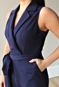 Boss Lady Navy Collared Jumpsuit