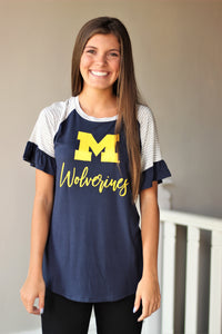 Michigan Twist It Up Ruffle Sleeve