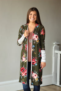 Olive Buttery floral Contrasted Duster
