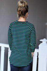 Kelly Green/Navy Striped French Terry Pocket Pullover