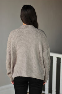 Grey Candice Cable Knit Cardigan